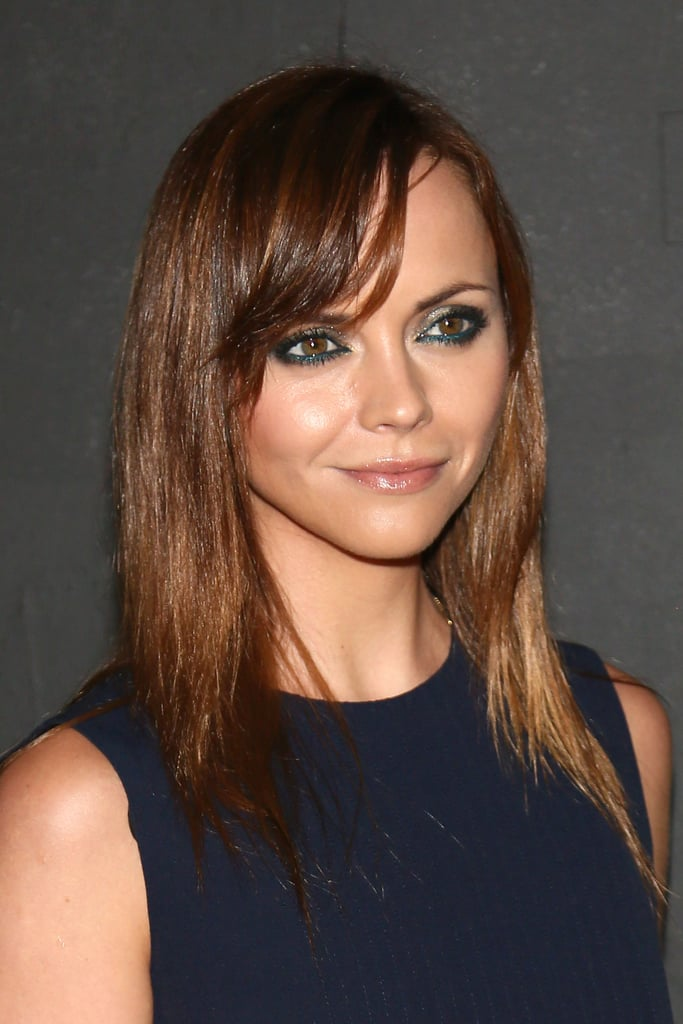 Christina Ricci's sideswept bangs pair perfectly with her straight strands.