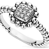 Lagos Sterling Silver Caviar Spark Diamond Square Ring