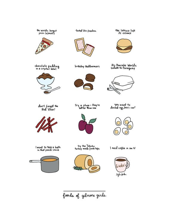 Foods of Gilmore Girls Hand-Illustrated Print
