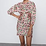 Zara Printed Dress With Draping