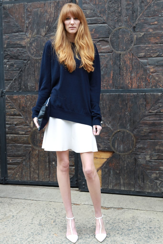 Leave a slouchy sweater untucked over a flippy skirt for an insouciant, relaxed finish.