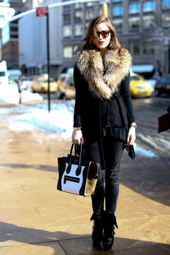 A gorgeous fur collar was all this styler needed to set her look apart — well, that, and a covetable Céline bag in hand.