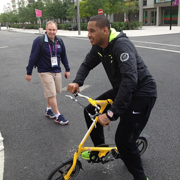 Carmelo Anthony went for a spin around the Olympic Village. Source: Instagram user kevinlove