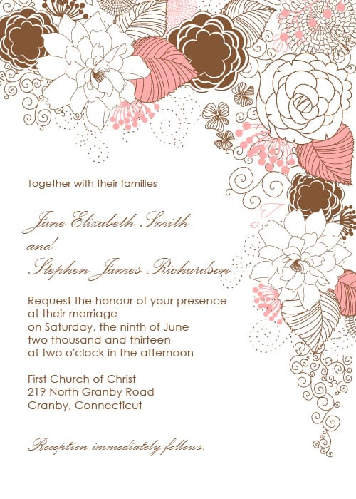 Garden With Floral Border Wedding Invitation