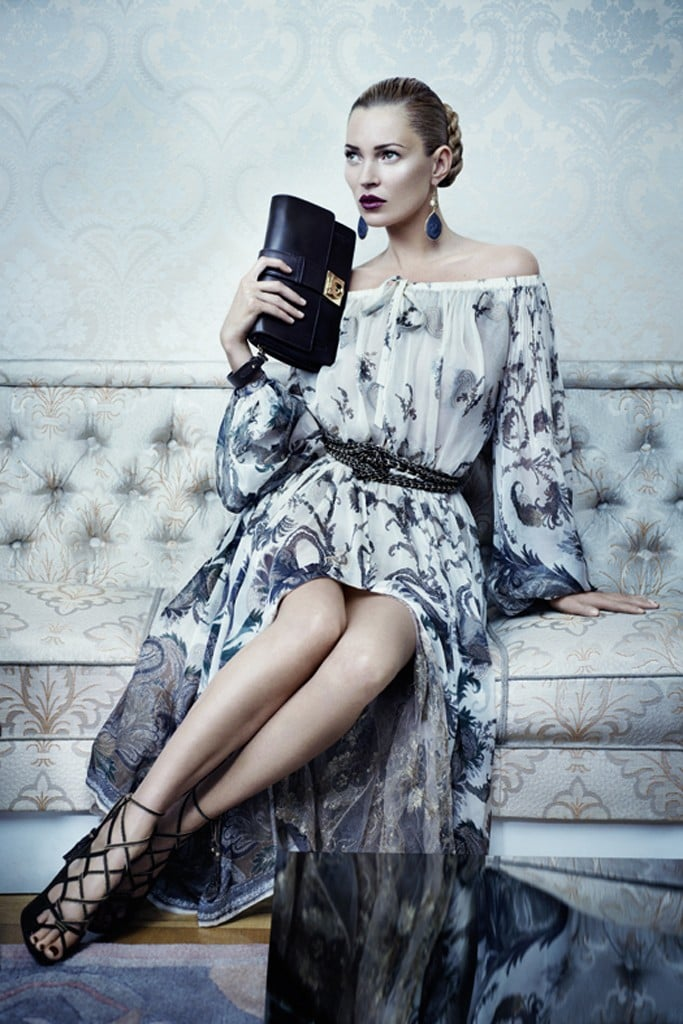 Kate Moss is the epitome of sleek elegance in Salvatore Ferragamo's Fall campaign.