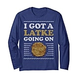 "Ugly Hanukkah Sweater ""Latke Going On"" Long-Sleeved T-Shirt"