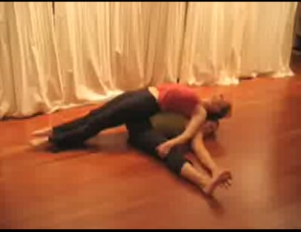 Partner Yoga Video Demonstrating Seated Straddle Lounge