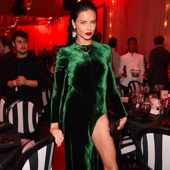 Adriana Lima's Green Velvet Dress December 2016