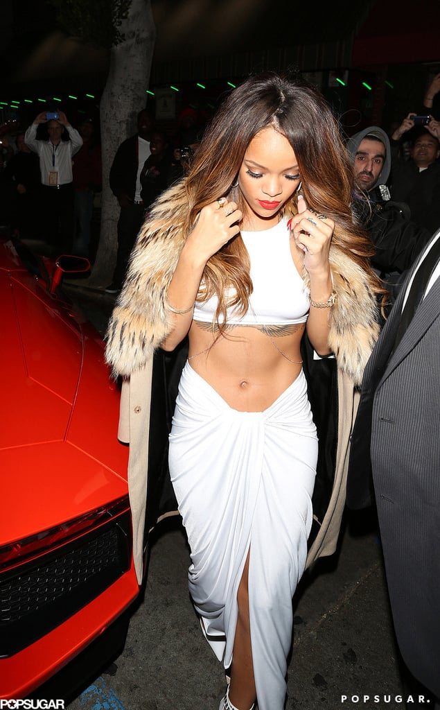 rihanna wore a white outfit for a grammys afterparty