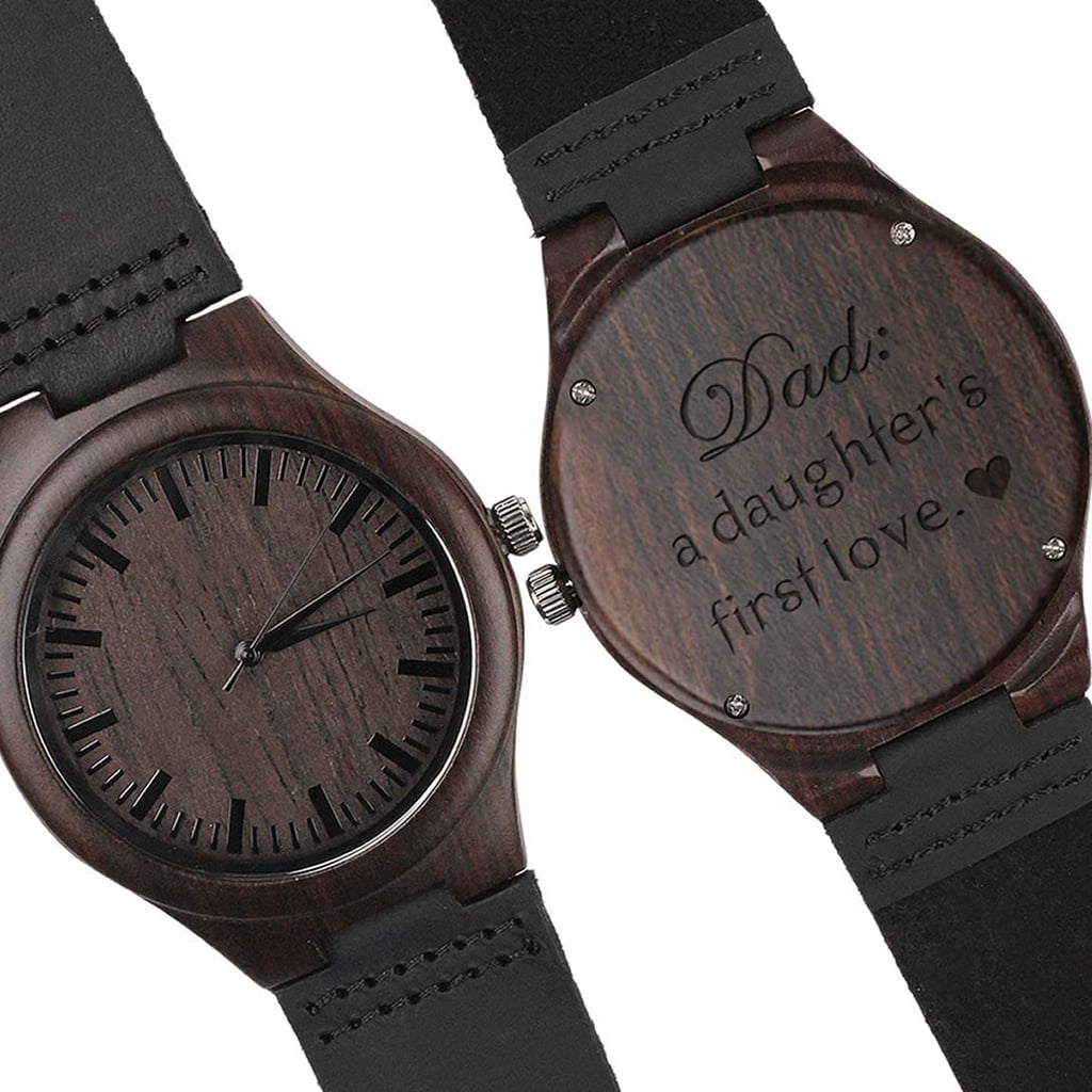 Personalized Engraved Wood Watch With Black Leather Strap