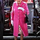 Queen Elizabeth Pink Coat April 2016