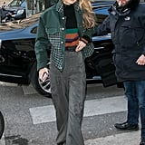 Gigi Hadid's Green Plaid Denim Jacket