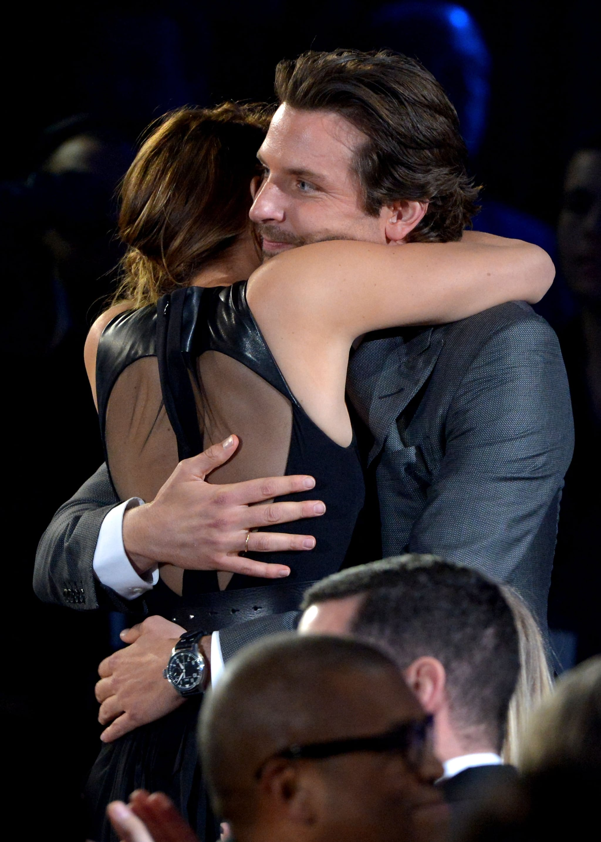 Jennifer Lawrence gave Bradley Cooper a tight embrace at the Critics' Choice Awards.