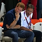 Prince Harry watched the swimmers at the aquatic center in London.