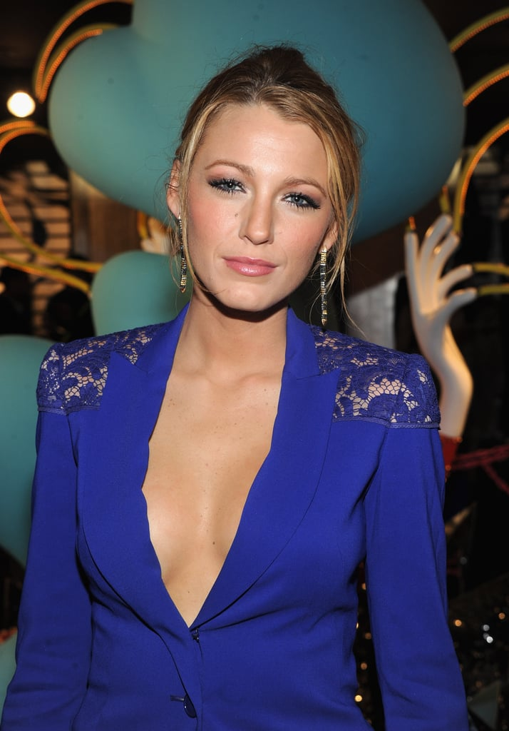 Blake Lively wore a blue suit to Barneys.