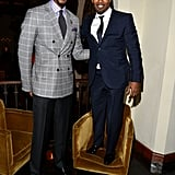 Jamie Foxx climbed on a chair to be the same height as Chris Bosh.