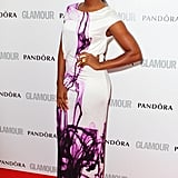 Alexandra Burke brought purple patterns to the red carpet.
