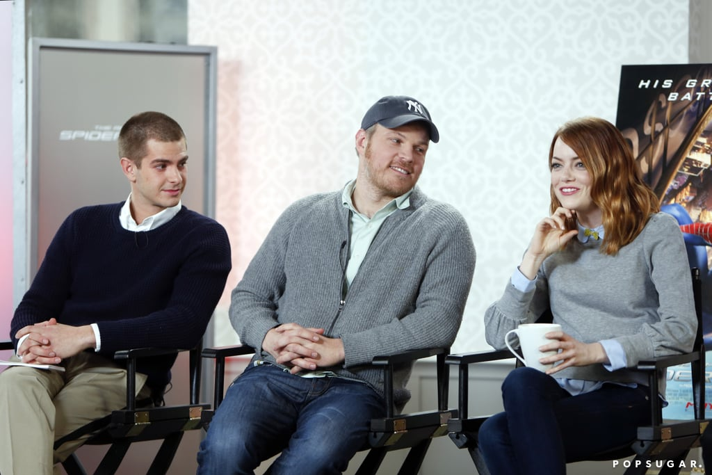 """The cast of The Amazing-Spider Man 2 has been traveling the globe to promote their latest superhero installment in recent weeks, and on Monday, they made a special stop in San Francisco. Andrew Garfield, Emma Stone, Jamie Foxx, and Dane DeHaan, as well as the film's director, Marc Webb, all visited our POPSUGAR offices, where they were game for a round of Pictionary, posed for photos, and sat down for a group interview. Andrew sported a freshly buzzed haircut and revealed serious nerves about his first Saturday Night Live hosting gig this weekend, while Emma, who was all smiles in jeans and a sweater, proclaimed that her Spice Girls name would be All Spice. Jamie kicked off the event with a raspberry mimosa before treating our editors to an impromptu """"POPSUGAR"""" song and sharing a story about bringing his 4-year-old daughter, Annalise, to the Spider-Man set. Tune into POPSUGAR Now on TVGN next week to watch all the fun, and make sure to check out The Amazing Spider-Man 2 in theaters on May 2.  Photo: Jason Rhee"""