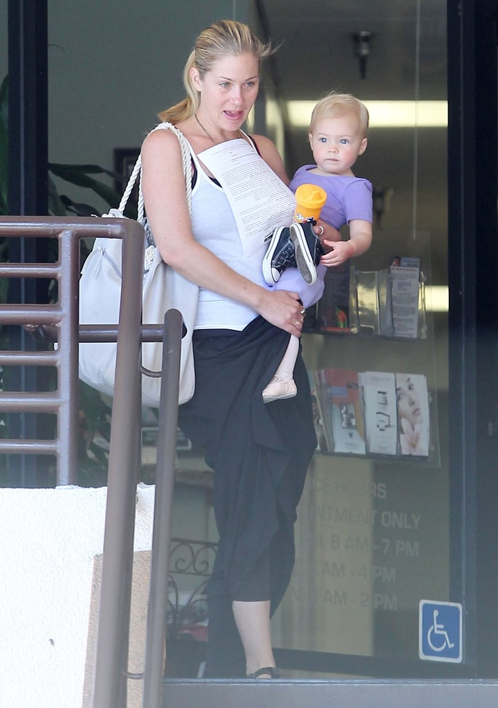 Christina Applegate carried her daughter, Sadie, out of a ballet class in Sherman Oaks, CA, yesterday. Sadie, who turned 1 in January, was decked out in her dance clothes and ballet slippers. The mother-daughter outing came during a break from Christina's busy filming schedule. She's in the middle of work on the second season of Up All Night, which returns on Sept. 20. We recently visited the Up All Night set to see Christina in action with her costars Maya Rudolph and Will Arnett. In addition to her small-screen role, Christina has another job on her plate. She recently helped launch FabKids, a subscription service for girls' clothing, that plans to expand into boys gear next year.