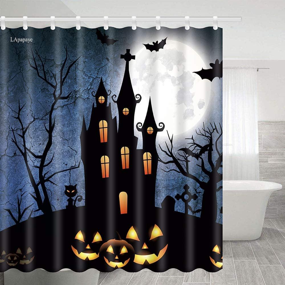 Halloween Pumpkin Lights Outside the Castle and Bats Shower Curtain