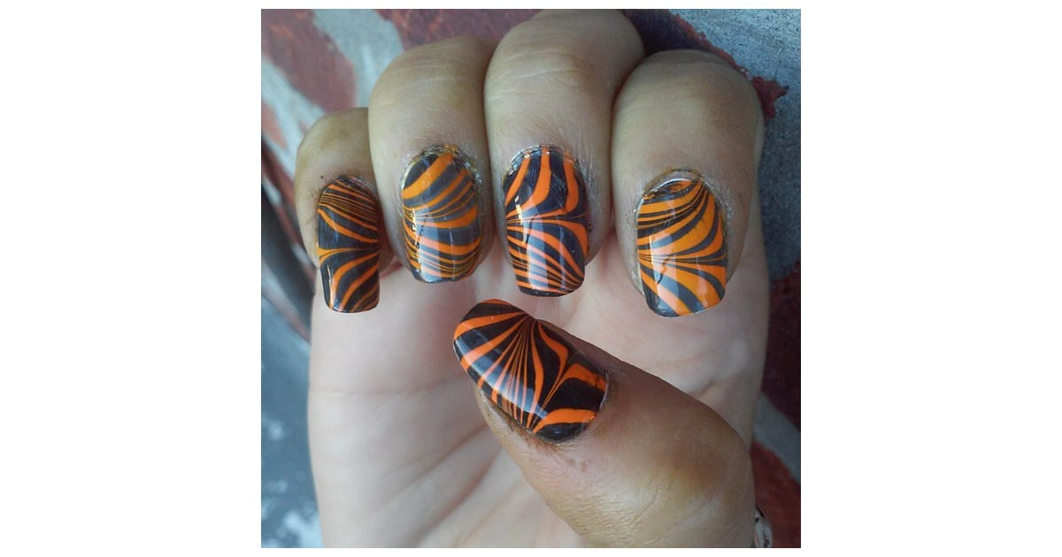 Wacky Water Marbling | Halloween Nail Art Ideas | POPSUGAR ...