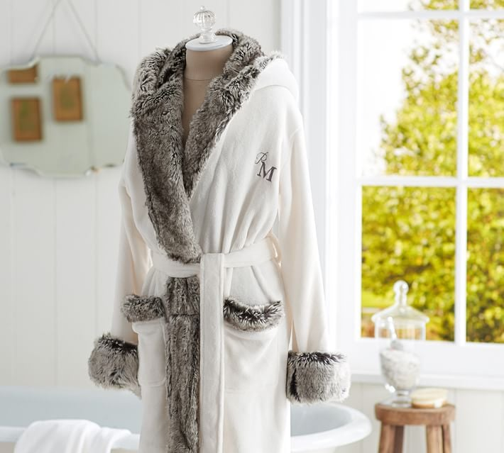 Because what homebody doesn't want a faux-fur-trimmed robe ($119) with her initials on it?