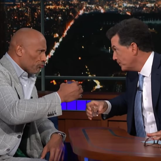 Dwayne Johnson and Stephen Colbert Compare Eyebrows