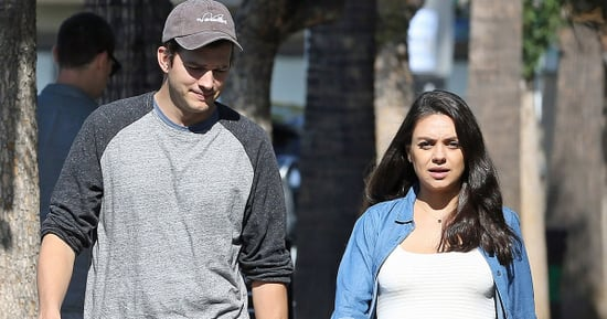 Pregnant, Makeup-Free Mila Kunis and Ashton Kutcher Step Out Together at Bakery