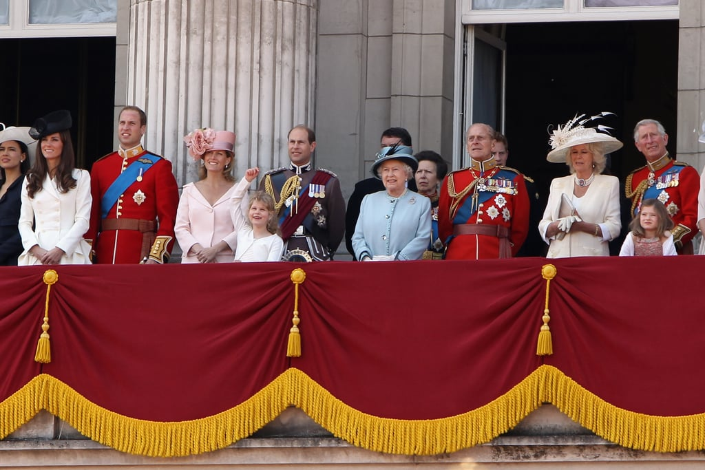 Members of the royal family gathered for the Trooping the Colour on the balcony of Buckingham Palace on June 11, 2011.