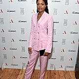 Naomie was pretty in pink wearing a double-breasted suit to an event in London in February.