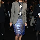 Twice in one fashion month? We're in love. That's right: Carine Roitfeld wore this iridescent fringe skirt to Gucci and to the Marc Jacobs Spring '13 show in NYC.