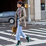 Style Your Leopard-Print Coat With: A Striped Tee, Jeans, and Heels With Socks