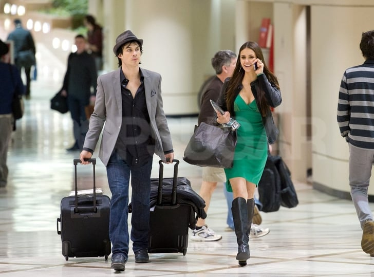 Ian Somerhalder was on bag duty while Nina Dobrev carried her new People's Choice Award.