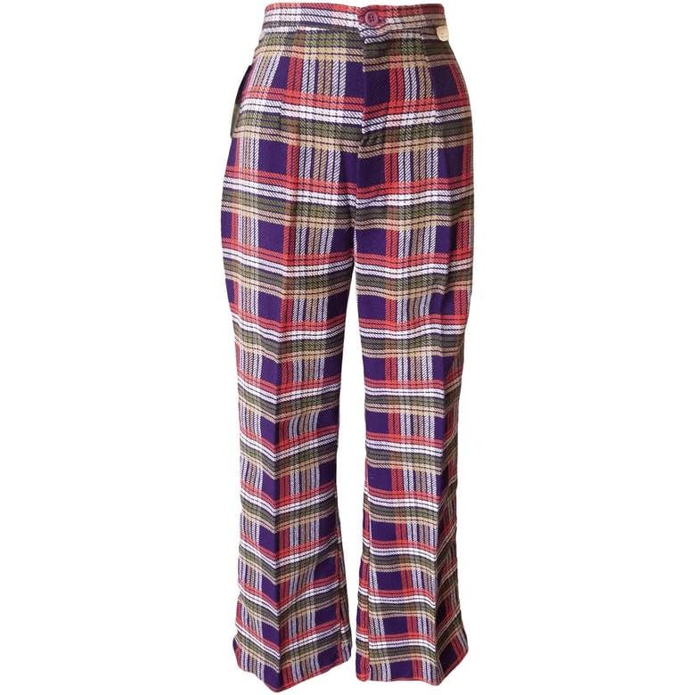 60's Purple Square Plaid Pants
