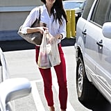 Jordana Brewster captured our attention with those too-cute fox-embellished loafers. Add a pair of red denim and we're sold.