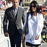 Jonny Lee Miller and Lucy Liu geared up to shoot a scene for Elementary in London on Wednesday.