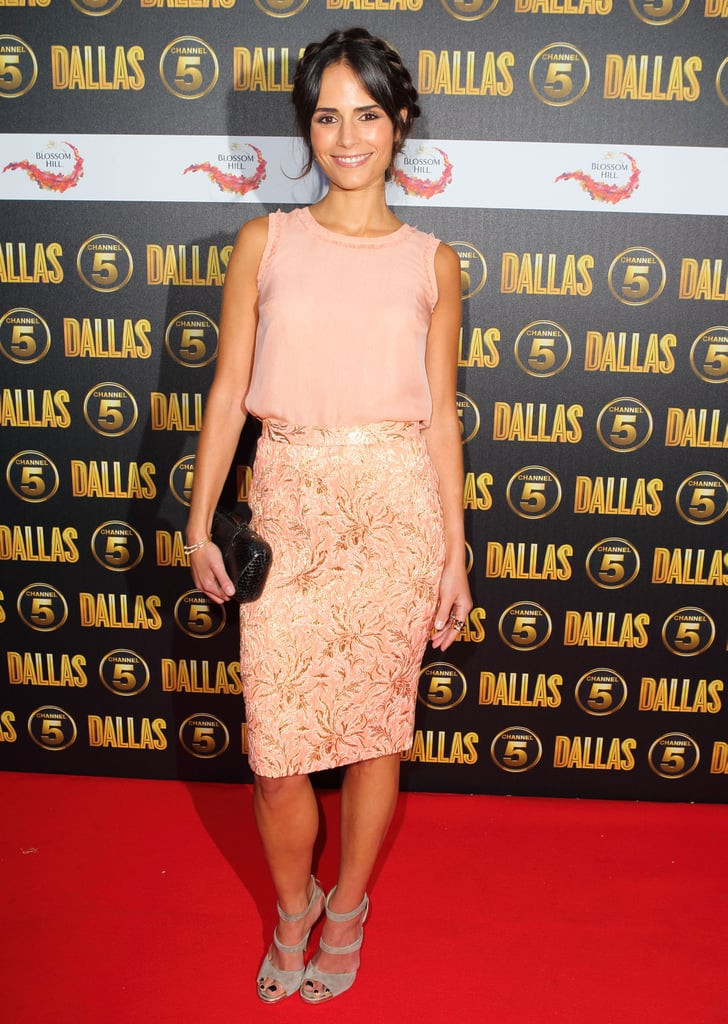 Jordana Brewster reworked a brocade skirt with thoroughly modern charm, adding a pair of strappy Jimmy Choos.