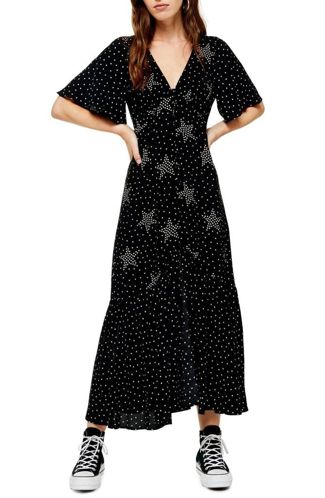 Topshop Angel Sleeve Star Print Maxi Dress