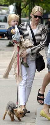 Naomi Watts in White Jeans and Striped Cardigan