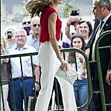 Queen Letizia Red Laser-Cut Heels June 2017