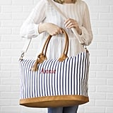 Personalized Striped Duffel Weekender Tote