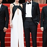 Carey Mulligan went with a chic black-and-white Vionnet gown for the Inside Llewyn Davis premiere, which showed off just the right amount of skin via a cut-out on the bodice and a subtle front slit. Her dapper co-star Justin Timberlake provided a matching black-and-white foil on the red carpet.