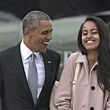 Malia has had quite a few adorable moments with her dad over the years, and this giggly conversation between them in April as they boarded Air Force One is one of their cutest.