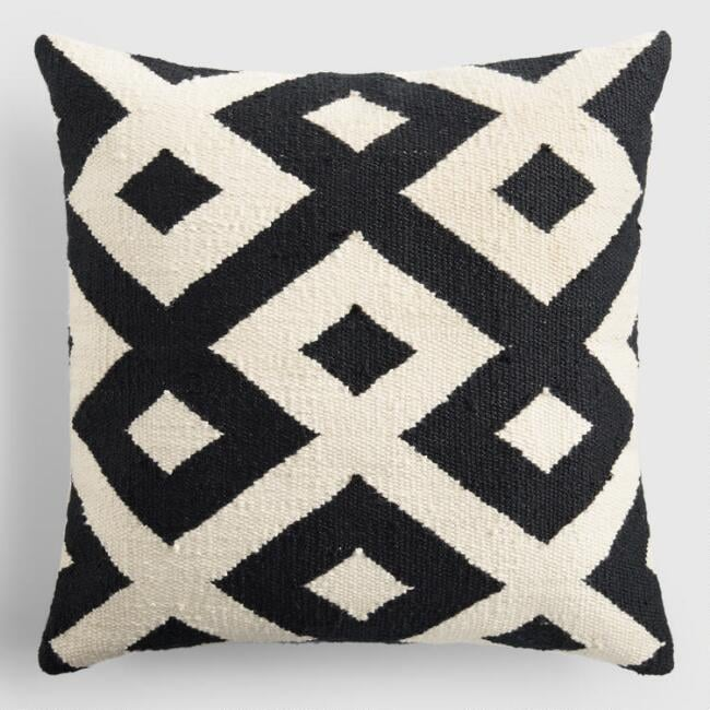 Black and Ivory Geometric Indoor Outdoor Throw Pillow