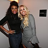 Britney Spears and Jennifer Hudson posed for photos at the tribute to Whitney Houston in LA.