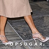 Jennifer Lopez's Valentino Rockstud Heels and Trench Coat