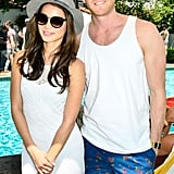 Jamie Chung and her fiancé, Bryan Greenberg, matched in white.