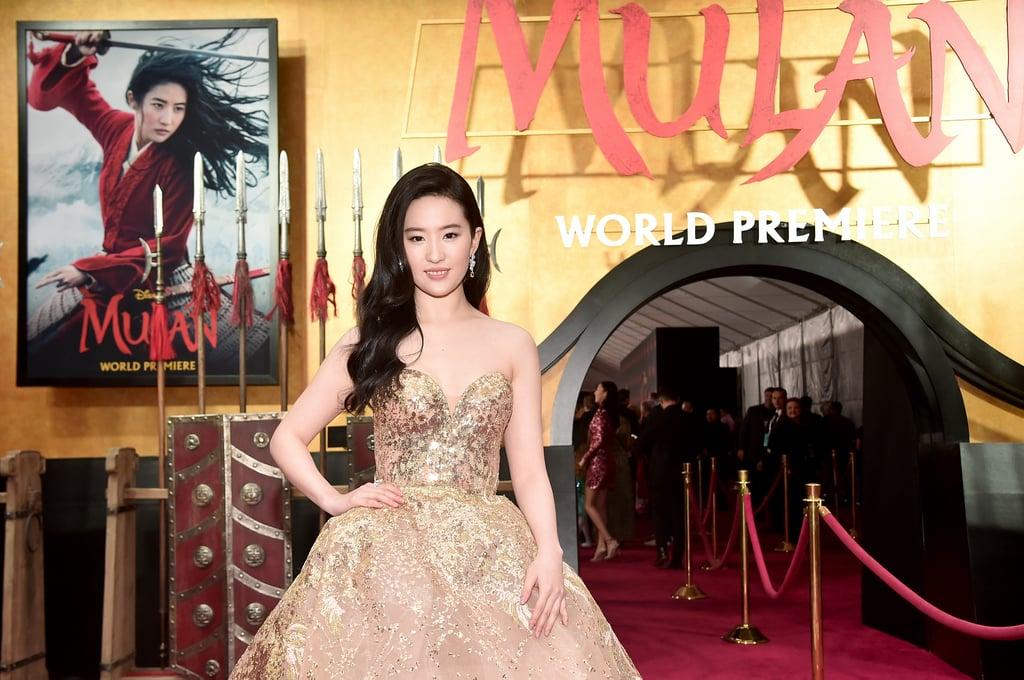Yifei Liu Wearing Elie Saab at the Mulan Premiere