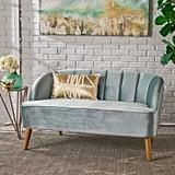 Modern Seafoam Blue Velvet Sofa