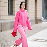 Match Your Light Pink Pants With a Cozy Pink Sweater